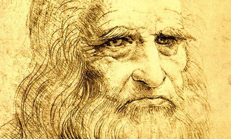 Sketch of Leonardo da Vinci of himself in his journal.