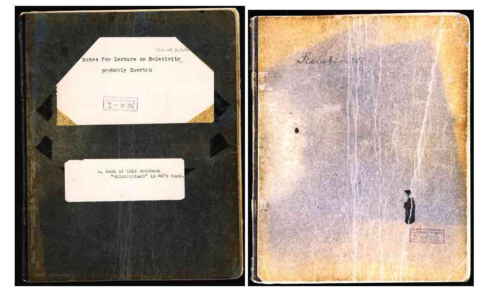 Einstein's Notebook on Relativity - Front and Back Cover